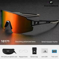 ORIGINAL Kacamata sepeda ROCKBROS 10171 lensa Rainbow Polarized
