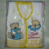 1 lusin Baju bayi putih lengan pendek motif lucu pink biru kuning yell