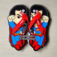 Sandal Lucu Sancu Anak Cowok Karakter Kartun Super Hero SUPERMAN Murah