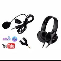 paket youtuber vlog lengkap 8 mic clip on headphone sony aux splitte