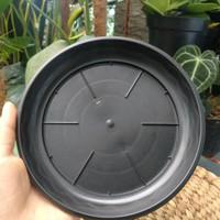 SATU LUSIN TATAKAN POT HITAM PLASTIK 17cm | Alas Pot / Hiasan Pot