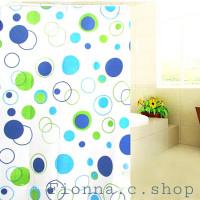 Blue Polka!Tirai kamar mandi anti air bahan PEVA lengkap dgn pengait