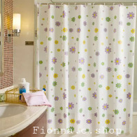 Purple Flower Tirai kamar mandi bahan PEVA lengkap dgn pengait