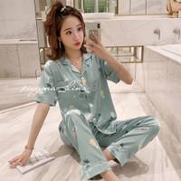 Baju tidur wanita piyama fashion wanita sutra organik love putih - Hijau, M