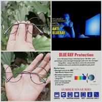 kacamata bulat lensa anti radiasi blue ray komputer/hp/laptop/gamers