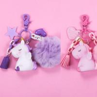 Gantungan Kunci Unicorn Pompom Bola Bulu Tassel Pink Ungu Ganci