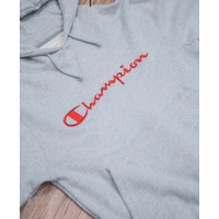 Champion Big Script Embroidered Logo Pullover Hoodie Grey / Red
