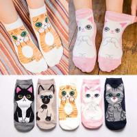 kaos kaki pendek motif kucing lucu banget untuk wanita dewasa