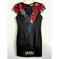 Black Cocktail Dress With Flower Embroidered Neckline Preloved