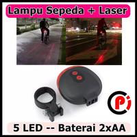 TaffLED Bicycle Laser Strobe Taillight 5 LED Lampu Belakang LED