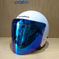 Helm Cargloss retro White visor snail BLUE