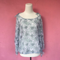blouse chiffon wanita bunga mint