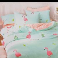 Bedcover set motif Flamingo, uk. King & Quenn, Murah & Berkualitas.