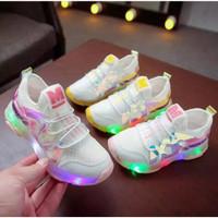sepatu anak model Moana mesh LED impor