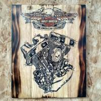 Poster Lukis Mesin Logo Harley Davidson HD Harleydavidson Jatibelanda