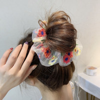 Ikat Rambut Korea Embroidery Flower Fashion Wanita Scrunchie Aksesoris