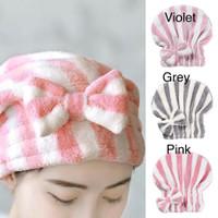 PANACHE Microfiber Cute Ribbon Hair Towel Shower Cap Handuk Keramas