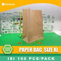 PAPER BAG KANTONG KERTAS ( XL ) / KANTONG ROTI, SNACK, MAKANAN - BROWN
