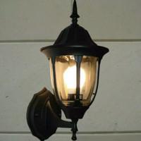 LAMPU TAMAN DINDING OUTDOOR MINIMALIS WATERPROOF KLASIK FITTING E27 - Hitam