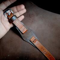 "Tali jam tangan kulit asli - Custom Handmade lokal - bukan sintetis"""