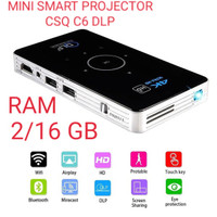 C6 DLP Projector / Proyektor Mini Smart Android6 S905X 4CORE - Hitam