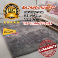 karpet bulu empuk tebal 4,5cm uk150x100 /surpet lembut - Abu-abu
