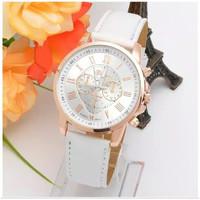Jam tangan wanita geneva leather strap - Putih