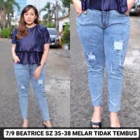 Beatrice 35 36 37 38 Celana Jeans Wanita Sobek Tidak Tembus Jumbo