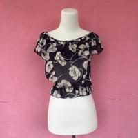 blouse chiffon import navy bunga