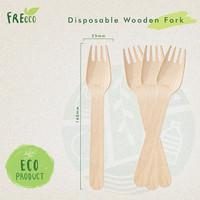 FreEco Disposable Wooden Cutlery Garpu Makan Kayu (Food Grade)