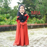 Setelan gamis anak syari polos jersey Nayla by manasikana 0-6 tahun