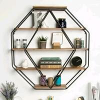 Rak Besi Dinding - Rak unik Pot Besi - hiasan dinding Hexagon variasi