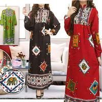 gamis katun wanita batik big size ukuran besar jumbo/baju muslim