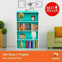 Rak Buku minimalis 4 tingkat susun pajangan Funika kayu murah 11242 - Biru Muda