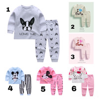Long Pajamas Set for Toddlers / Setelan Piyama Kaos Anak Unisex