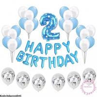 Set paket balon happy birthday confetti blue pink ulang tahun anak
