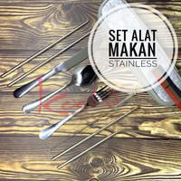 Set Alat Makan Stainless Sedotan Sikat dan Travel Zip Bag Sendok garpu
