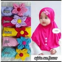 Jilbab Anak Bayi Bunga Matahari - Kerudung Instan Bayi - Hijab Bayi