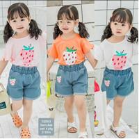setelan anak perempuan jeans kaos lucu korea