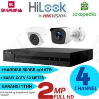 Paket CCTV 2 ch Hilook 2mp FULL HD outdoor dan indoor KOMPLIT murah!