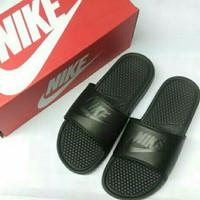 Sendal pria Nike ORIGINAL BENASSI SWOOSH FULL BLACK Sendal karet Ori