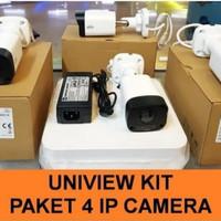 PAKET CCTV UNIVIEW 4 IP CAM NVR POE 4 CHANEL 2MP 1080P FULL HD