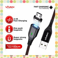 Vivan MGM100 Magnetic Charging Data Cable Micro USB 2.4A Quick Charge