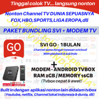 IPTV SVI GO / JOY TV 1BULAN + STB ANDROID TVBOX CHANNEL SVICLOUD EVPAD