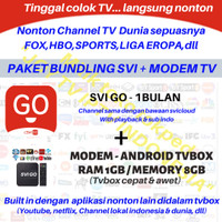 IPTV SVI GO / JOY 1BULAN + STB ANDROID TV BOX SVICLOUD EVPAD PREMIUM