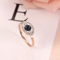 Cincin Titanium Steel Cincin Wanita model Blue Eyes - Rose Gold, 6