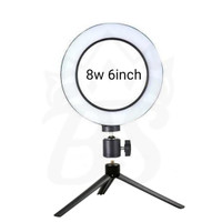 Lampu Halo Ring Light LED Kamera 8W 6 Inch Plus Mini Tripod portable