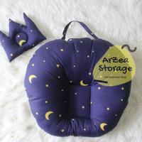 sofa bayi / baby lounger motip bulan bintang navy