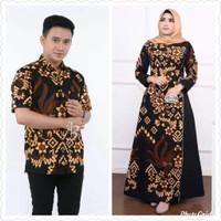 Baju dress couple gamis wanita Jumbo ld 140 sarimbit batik motif pria