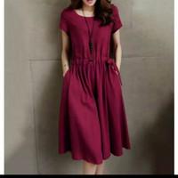 dress Elfie Bahan twiscone fit to XL pinggang karet Tali serut - Navy